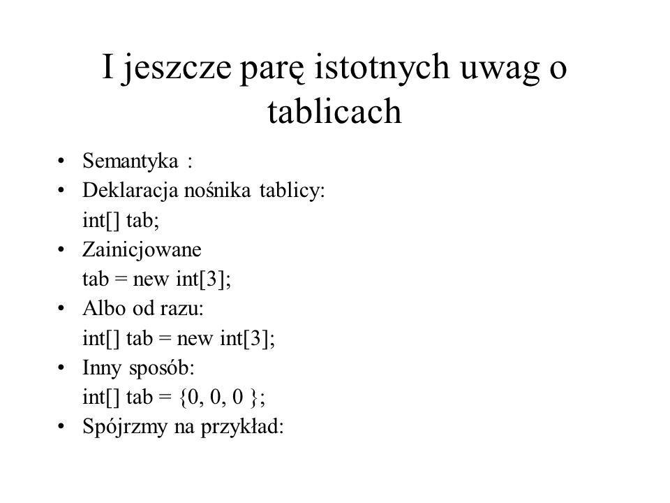 I jeszcze parę istotnych uwag o tablicach Semantyka : Deklaracja nośnika tablicy: int[] tab; Zainicjowane tab = new int[3]; Albo od razu: int[] tab =
