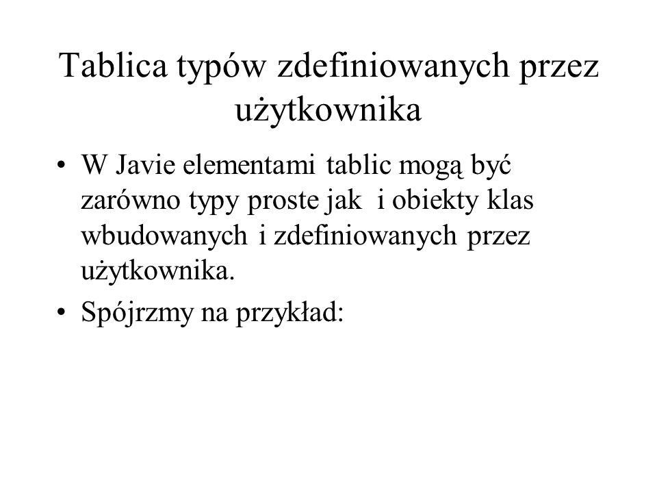 Tablica typów zdefiniowanych przez użytkownika W Javie elementami tablic mogą być zarówno typy proste jak i obiekty klas wbudowanych i zdefiniowanych