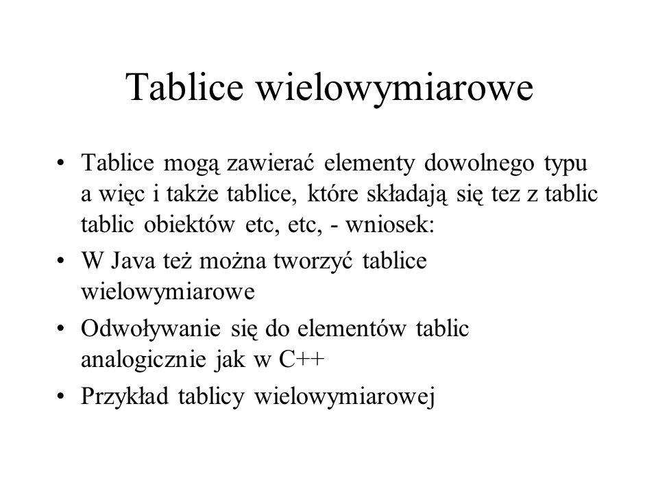 Tablice wielowymiarowe Tablice mogą zawierać elementy dowolnego typu a więc i także tablice, które składają się tez z tablic tablic obiektów etc, etc,
