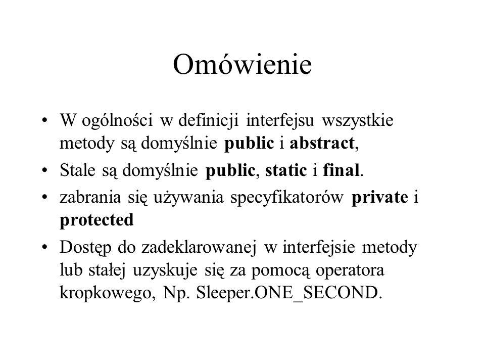 Omówienie W ogólności w definicji interfejsu wszystkie metody są domyślnie public i abstract, Stale są domyślnie public, static i final. zabrania się