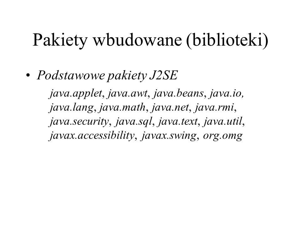 Pakiety wbudowane (biblioteki) Podstawowe pakiety J2SE java.applet, java.awt, java.beans, java.io, java.lang, java.math, java.net, java.rmi, java.secu