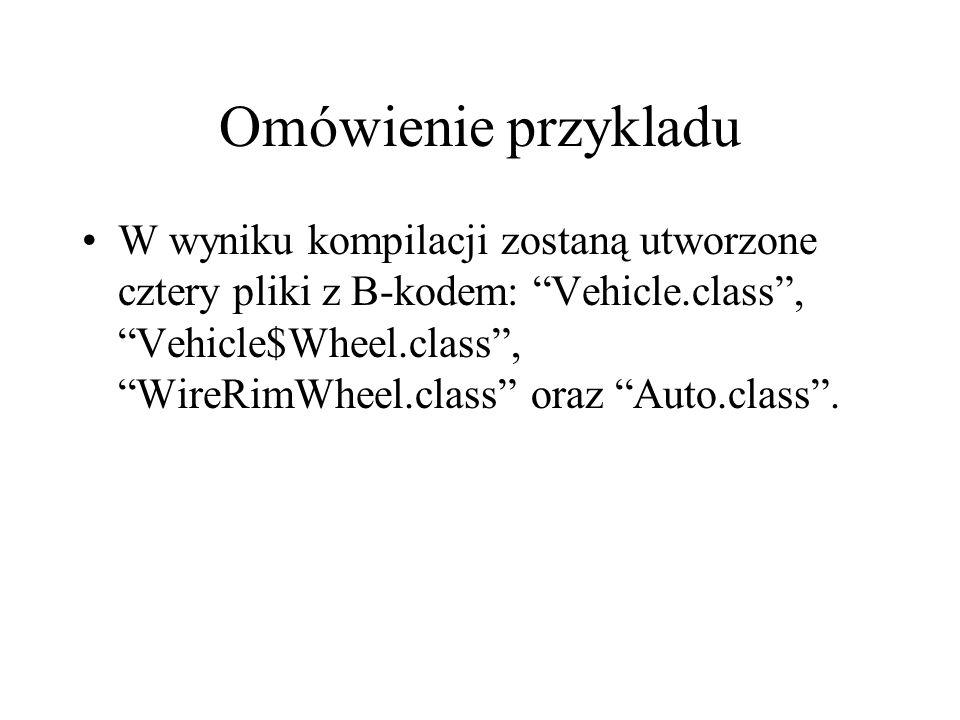 Omówienie przykladu W wyniku kompilacji zostaną utworzone cztery pliki z B-kodem: Vehicle.class, Vehicle$Wheel.class, WireRimWheel.class oraz Auto.cla