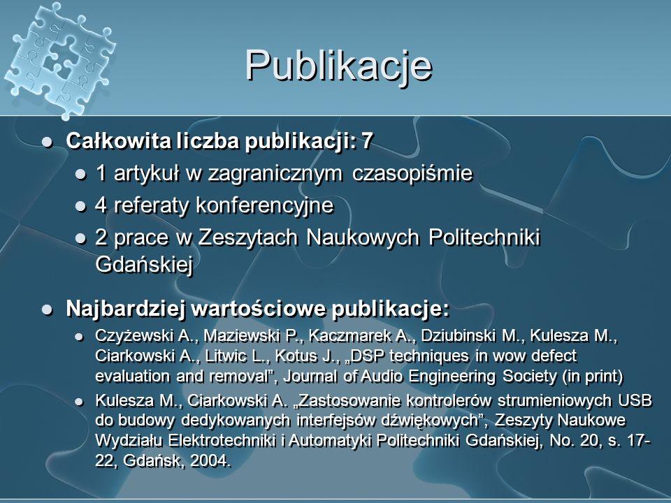 Publikacje Całkowita liczba publikacji: 7 1 artykuł w zagranicznym czasopiśmie 4 referaty konferencyjne 2 prace w Zeszytach Naukowych Politechniki Gda