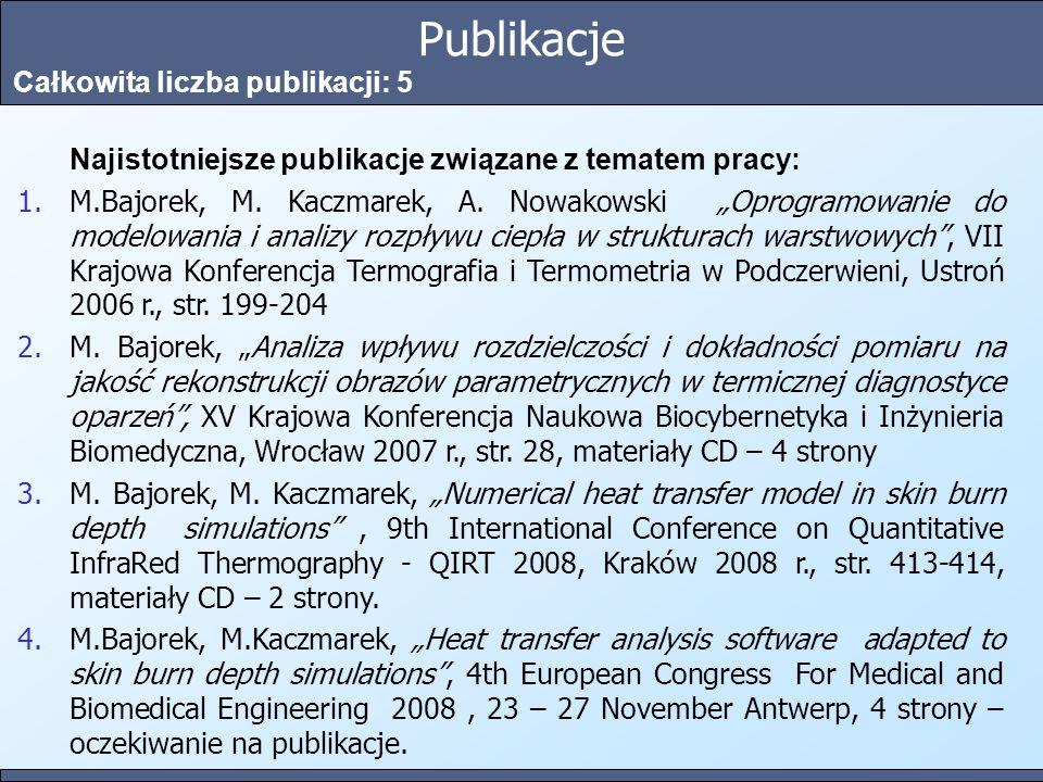 Publikacje Całkowita liczba publikacji: 5 Najistotniejsze publikacje związane z tematem pracy: 1.M.Bajorek, M. Kaczmarek, A. Nowakowski Oprogramowanie
