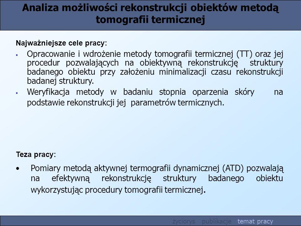 Analiza możliwości rekonstrukcji obiektów metodą tomografii termicznej Teza pracy: Pomiary metodą aktywnej termografii dynamicznej (ATD) pozwalają na