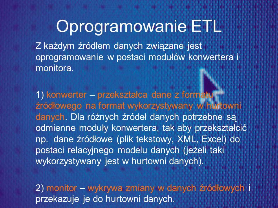 Oprogramowanie ETL Z każdym źródłem danych związane jest oprogramowanie w postaci modułów konwertera i monitora. 1) konwerter – przekształca dane z fo
