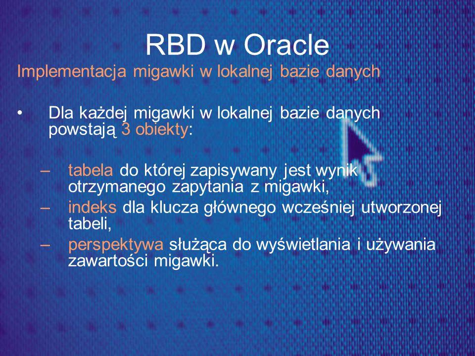 RBD w Oracle Implementacja migawki w lokalnej bazie danych Dla każdej migawki w lokalnej bazie danych powstają 3 obiekty: –tabela do której zapisywany