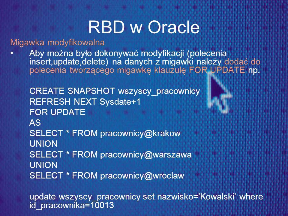 RBD w Oracle Migawka modyfikowalna Aby można było dokonywać modyfikacji (polecenia insert,update,delete) na danych z migawki należy dodać do polecenia