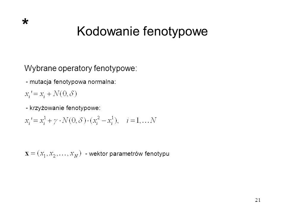 21 Kodowanie fenotypowe Wybrane operatory fenotypowe: - mutacja fenotypowa normalna: - krzyżowanie fenotypowe: - wektor parametrów fenotypu *