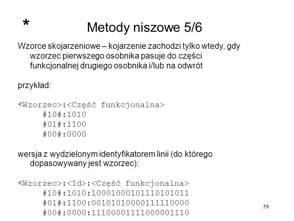 58 Metody niszowe 5/6 Wzorce skojarzeniowe – kojarzenie zachodzi tylko wtedy, gdy wzorzec pierwszego osobnika pasuje do części funkcjonalnej drugiego