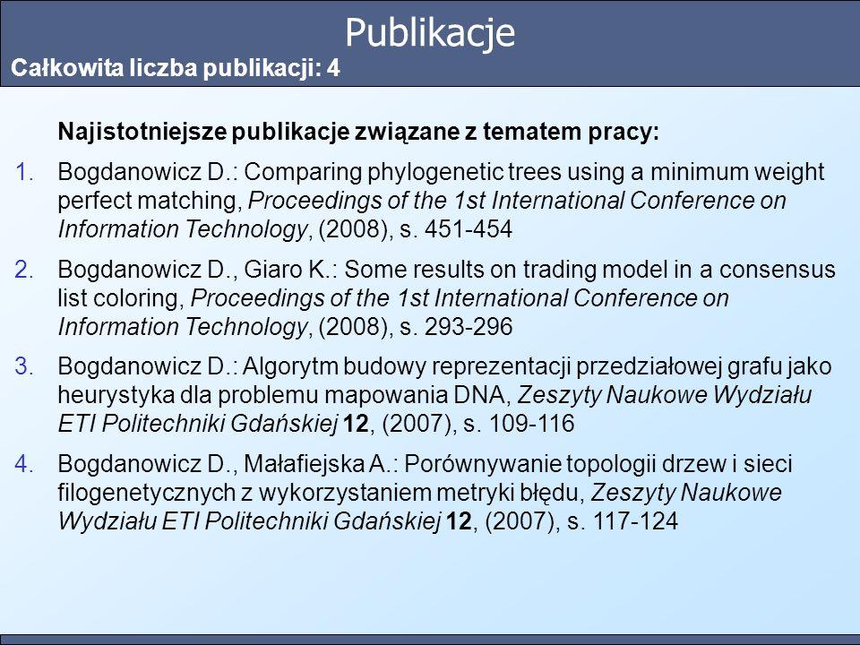 Publikacje Całkowita liczba publikacji: 4 Najistotniejsze publikacje związane z tematem pracy: 1.Bogdanowicz D.: Comparing phylogenetic trees using a