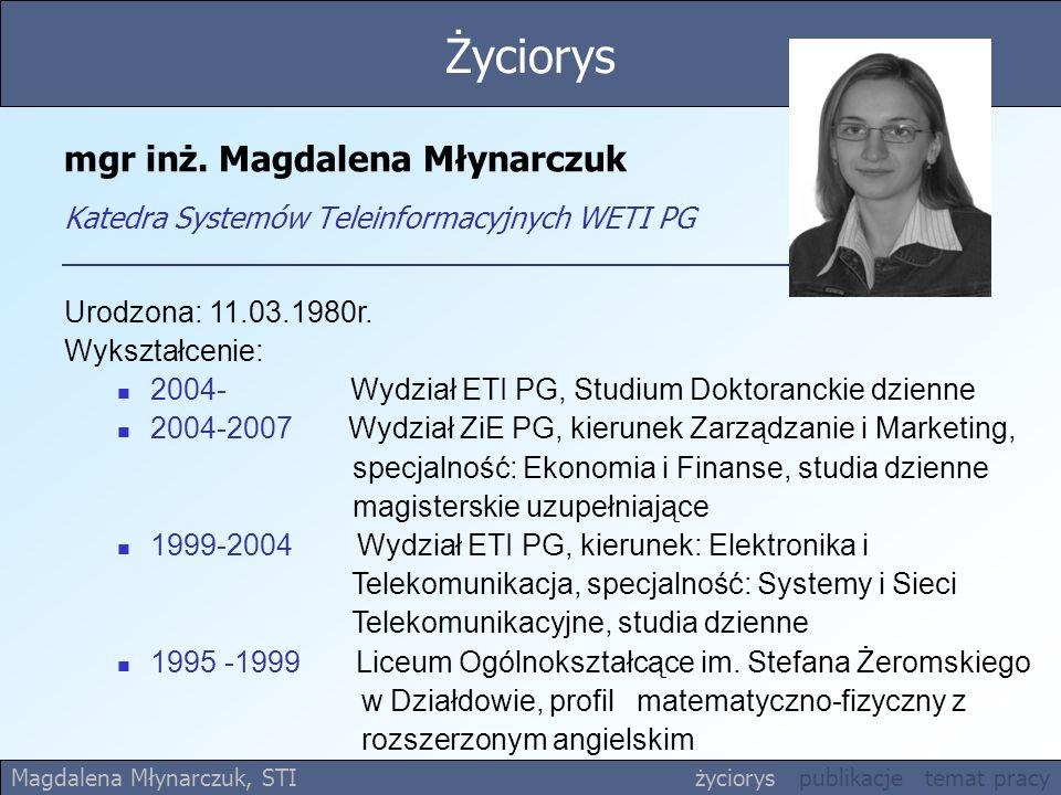 mgr inż.Magdalena Młynarczuk Katedra Systemów Teleinformacyjnych WETI PG Urodzona: 11.03.1980r.