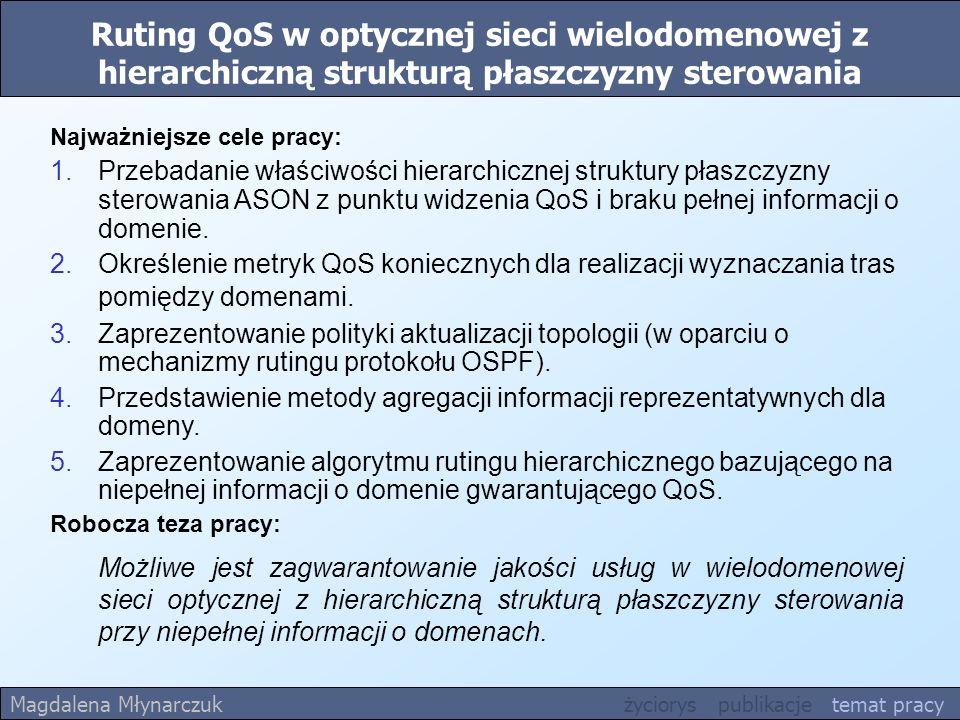 Ruting QoS w optycznej sieci wielodomenowej z hierarchiczną strukturą płaszczyzny sterowania Robocza teza pracy: Możliwe jest zagwarantowanie jakości usług w wielodomenowej sieci optycznej z hierarchiczną strukturą płaszczyzny sterowania przy niepełnej informacji o domenach.