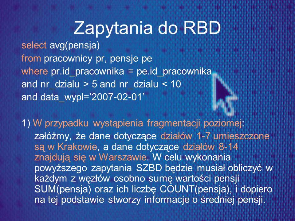 Zapytania do RBD select avg(pensja) from pracownicy pr, pensje pe where pr.id_pracownika = pe.id_pracownika and nr_dzialu > 5 and nr_dzialu < 10 and d