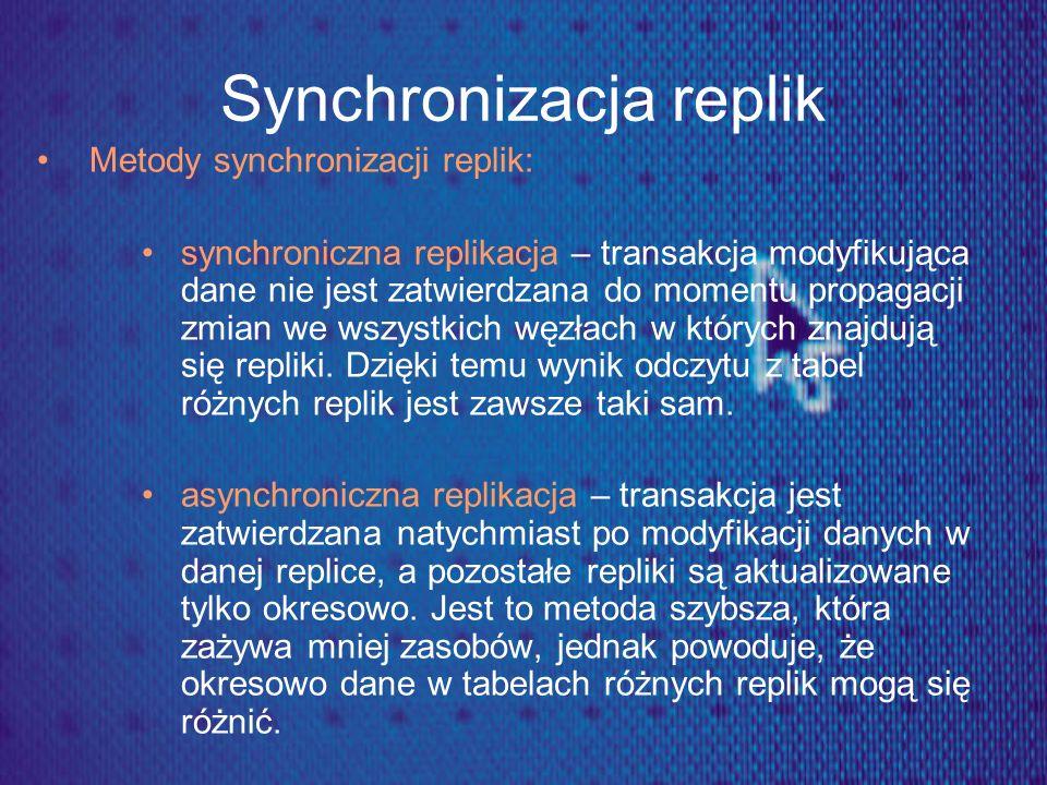 Synchronizacja replik Metody synchronizacji replik: synchroniczna replikacja – transakcja modyfikująca dane nie jest zatwierdzana do momentu propagacj