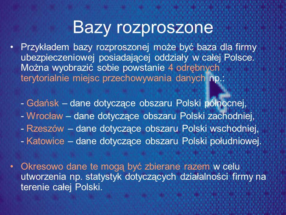 Bazy rozproszone Przykładem bazy rozproszonej może być baza dla firmy ubezpieczeniowej posiadającej oddziały w całej Polsce. Można wyobrazić sobie pow
