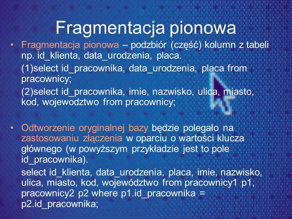Fragmentacja pionowa Fragmentacja pionowa – podzbiór (część) kolumn z tabeli np. id_klienta, data_urodzenia, placa. (1)select id_pracownika, data_urod