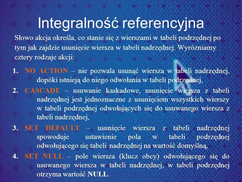 Integralność referencyjna Słowo akcja określa, co stanie się z wierszami w tabeli podrzędnej po tym jak zajdzie usunięcie wiersza w tabeli nadrzędnej.