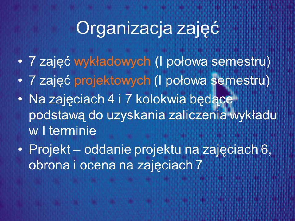 Organizacja zajęć 7 zajęć wykładowych (I połowa semestru) 7 zajęć projektowych (I połowa semestru) Na zajęciach 4 i 7 kolokwia będące podstawą do uzys