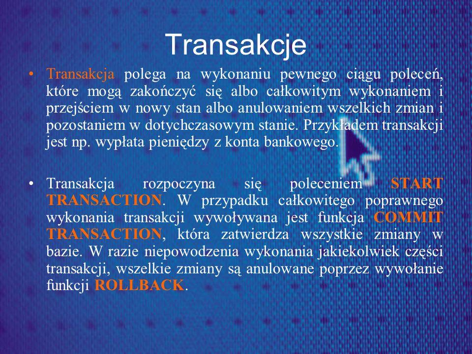 Transakcje Transakcja polega na wykonaniu pewnego ciągu poleceń, które mogą zakończyć się albo całkowitym wykonaniem i przejściem w nowy stan albo anu