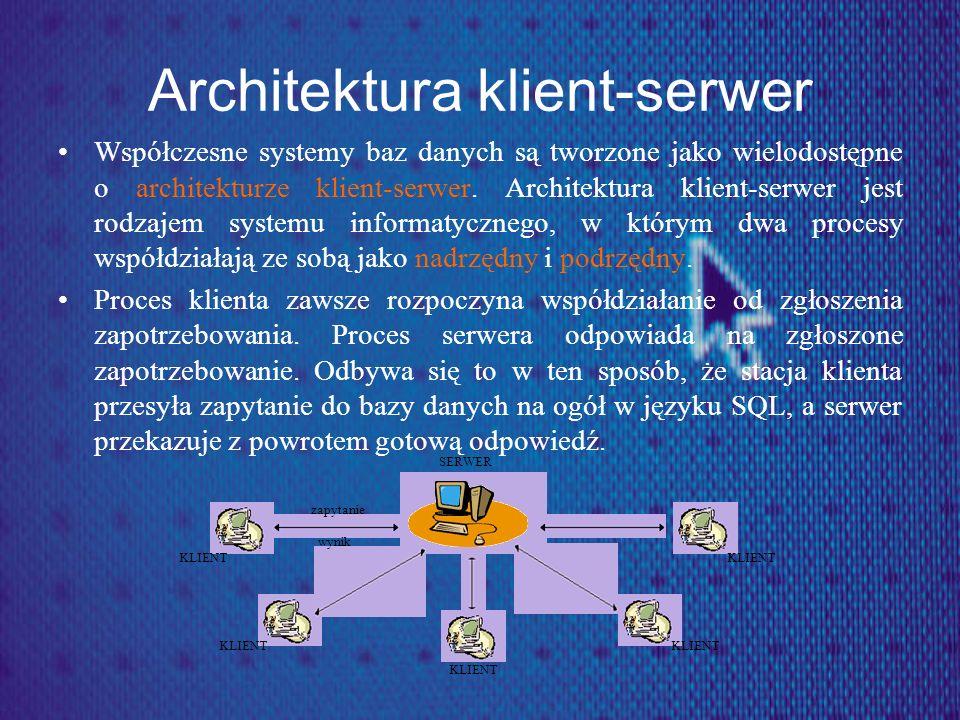 Architektura klient-serwer Współczesne systemy baz danych są tworzone jako wielodostępne o architekturze klient-serwer. Architektura klient-serwer jes