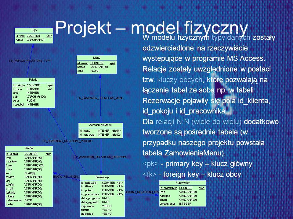 Projekt – model fizyczny W modelu fizycznym typy danych zostały odzwierciedlone na rzeczywiście występujące w programie MS Access. Relacje zostały uwz