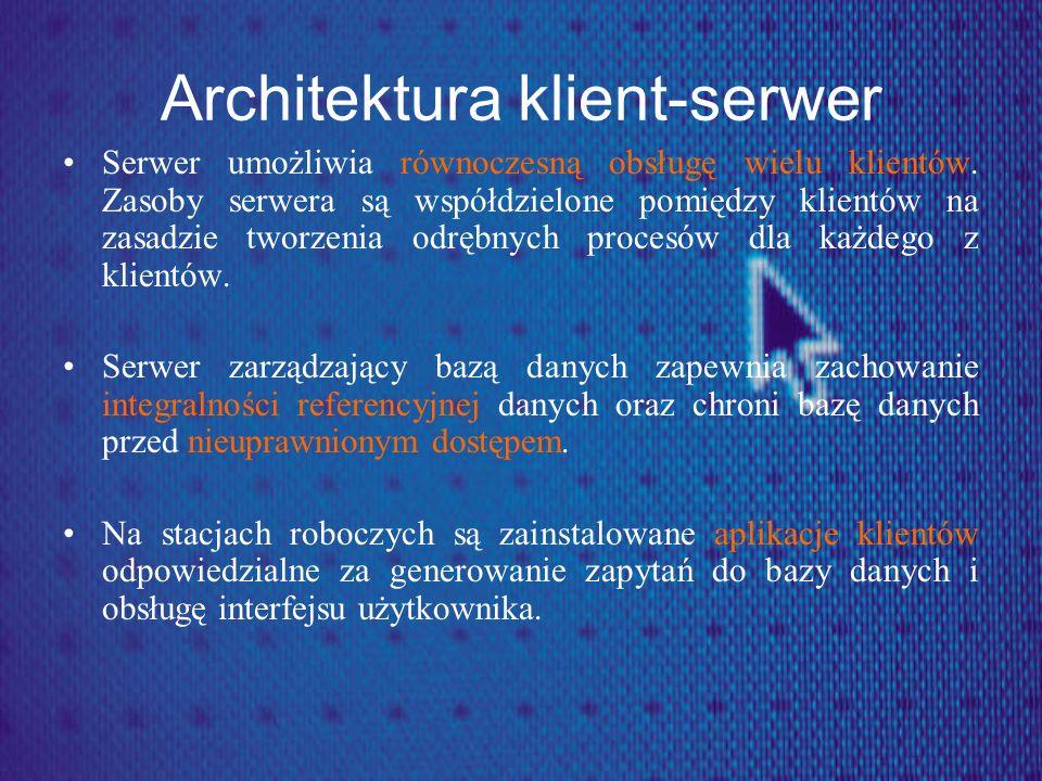 Architektura klient-serwer Serwer umożliwia równoczesną obsługę wielu klientów. Zasoby serwera są współdzielone pomiędzy klientów na zasadzie tworzeni