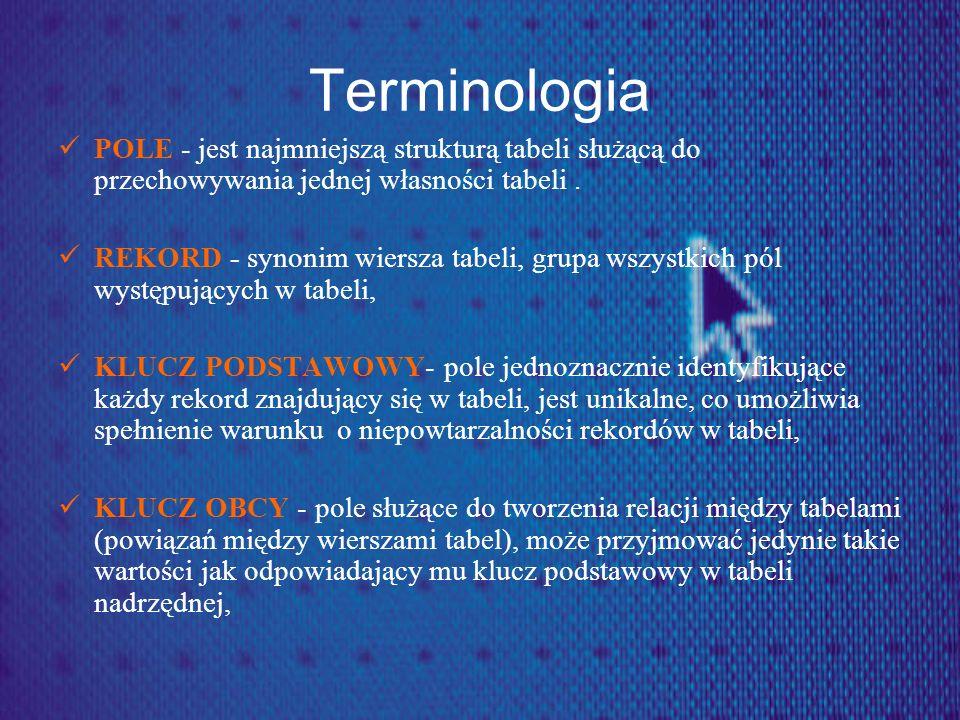 Terminologia POLE - jest najmniejszą strukturą tabeli służącą do przechowywania jednej własności tabeli. REKORD - synonim wiersza tabeli, grupa wszyst