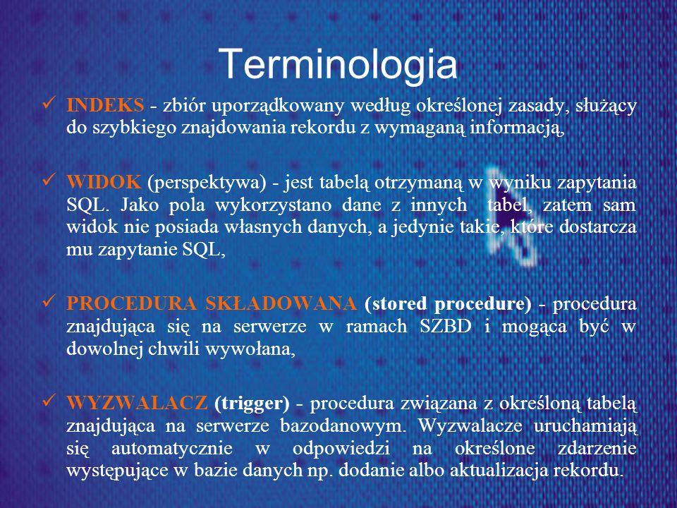 Terminologia INDEKS - zbiór uporządkowany według określonej zasady, służący do szybkiego znajdowania rekordu z wymaganą informacją, WIDOK (perspektywa