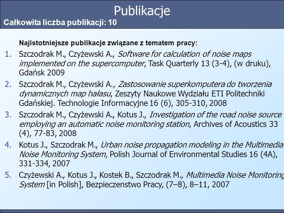 Publikacje Całkowita liczba publikacji: 10 Najistotniejsze publikacje związane z tematem pracy: 1.Szczodrak M., Czyżewski A., Software for calculation of noise maps implemented on the supercomputer, Task Quarterly 13 (3-4), (w druku), Gdańsk 2009 2.Szczodrak M., Czyżewski A., Zastosowanie superkomputera do tworzenia dynamicznych map hałasu, Zeszyty Naukowe Wydziału ETI Politechniki Gdańskiej.