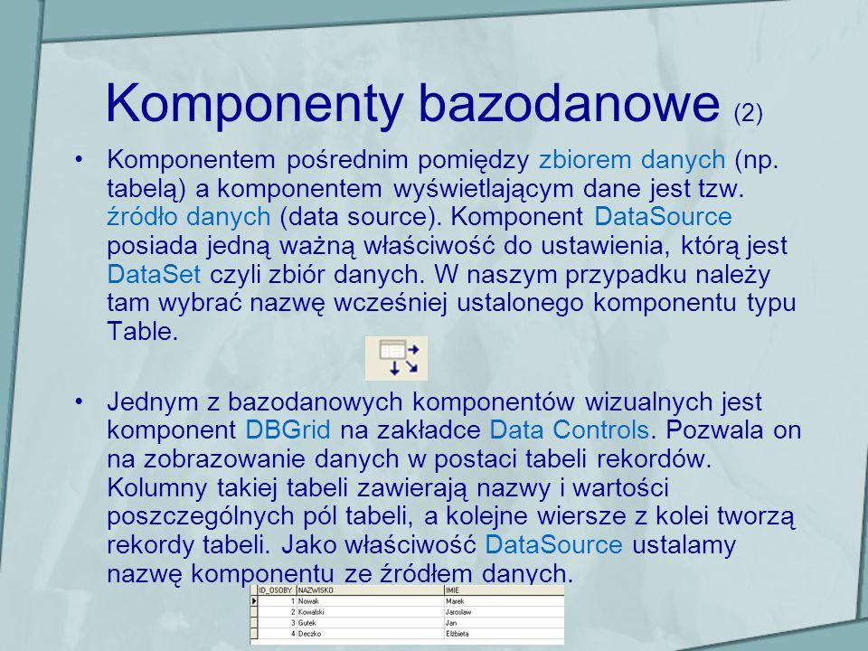 Komponenty bazodanowe (2) Komponentem pośrednim pomiędzy zbiorem danych (np. tabelą) a komponentem wyświetlającym dane jest tzw. źródło danych (data s