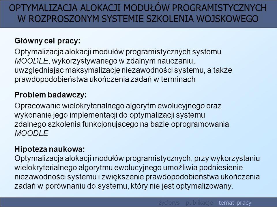 OPTYMALIZACJA ALOKACJI MODUŁÓW PROGRAMISTYCZNYCH W ROZPROSZONYM SYSTEMIE SZKOLENIA WOJSKOWEGO Hipoteza naukowa: Optymalizacja alokacji modułów program