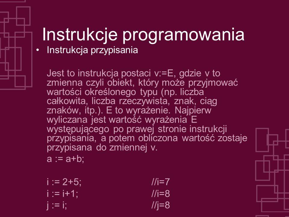 Instrukcje programowania Instrukcja przypisania Jest to instrukcja postaci v:=E, gdzie v to zmienna czyli obiekt, który może przyjmować wartości okreś