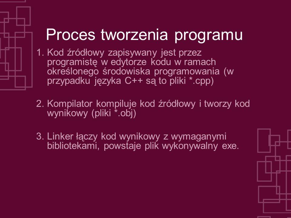 Proces tworzenia programu 1.Kod źródłowy zapisywany jest przez programistę w edytorze kodu w ramach określonego środowiska programowania (w przypadku