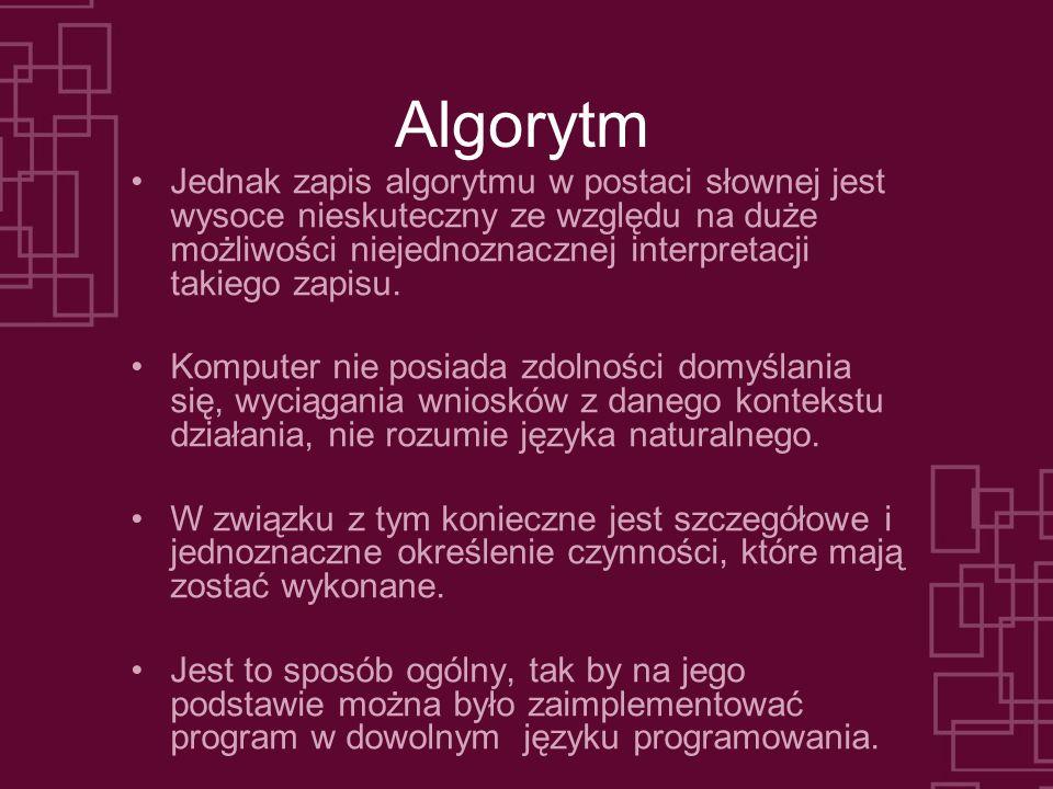 Algorytm Jednak zapis algorytmu w postaci słownej jest wysoce nieskuteczny ze względu na duże możliwości niejednoznacznej interpretacji takiego zapisu