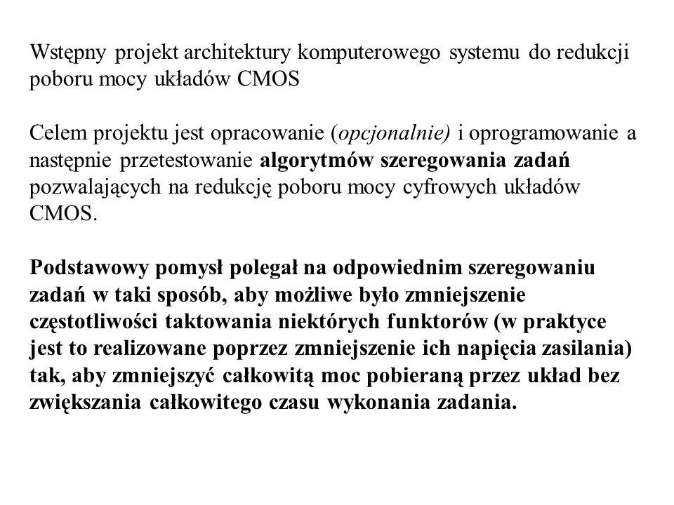 Wstępny projekt architektury komputerowego systemu do redukcji poboru mocy układów CMOS Celem projektu jest opracowanie (opcjonalnie) i oprogramowanie a następnie przetestowanie algorytmów szeregowania zadań pozwalających na redukcję poboru mocy cyfrowych układów CMOS.