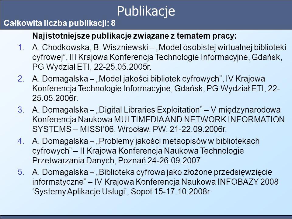 Publikacje Całkowita liczba publikacji: 8 Najistotniejsze publikacje związane z tematem pracy: 1.A. Chodkowska, B. Wiszniewski – Model osobistej wirtu