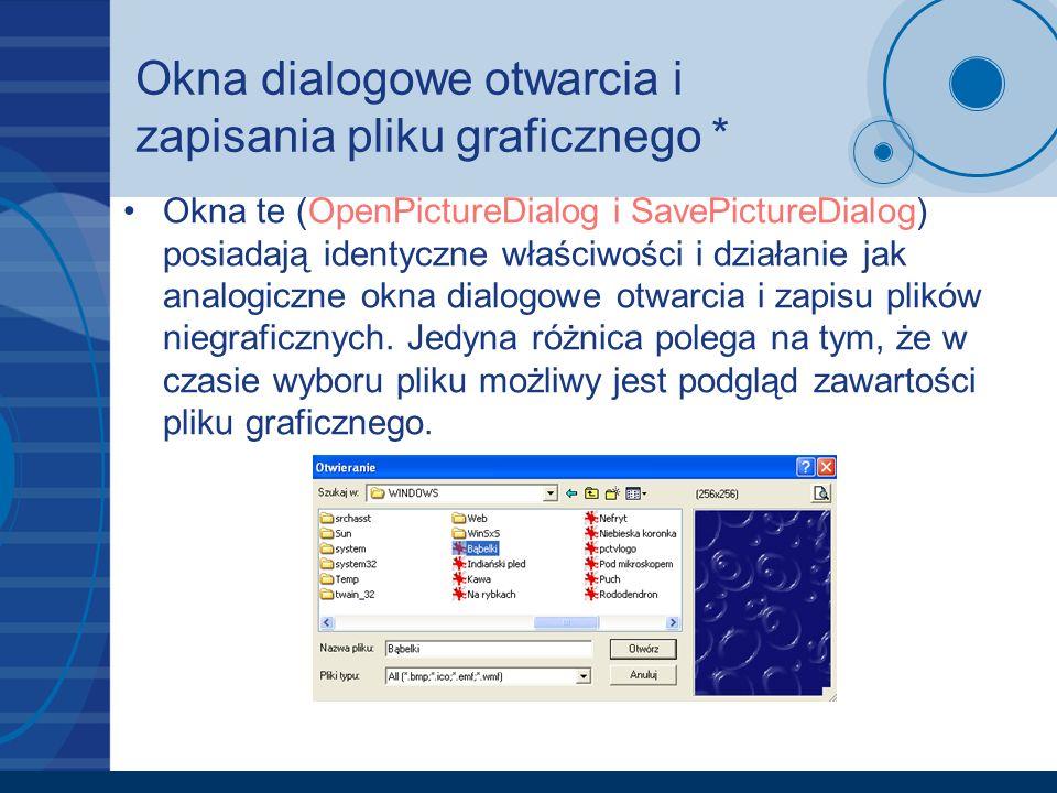 Okna dialogowe otwarcia i zapisania pliku graficznego * Okna te (OpenPictureDialog i SavePictureDialog) posiadają identyczne właściwości i działanie jak analogiczne okna dialogowe otwarcia i zapisu plików niegraficznych.