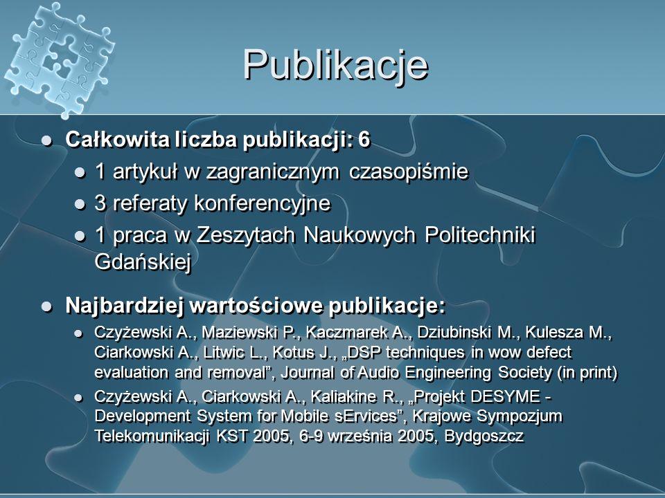 Publikacje Całkowita liczba publikacji: 6 1 artykuł w zagranicznym czasopiśmie 3 referaty konferencyjne 1 praca w Zeszytach Naukowych Politechniki Gda