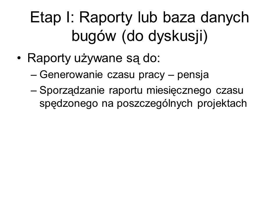 Etap I: Raporty lub baza danych bugów (do dyskusji) Raporty używane są do: –Generowanie czasu pracy – pensja –Sporządzanie raportu miesięcznego czasu spędzonego na poszczególnych projektach