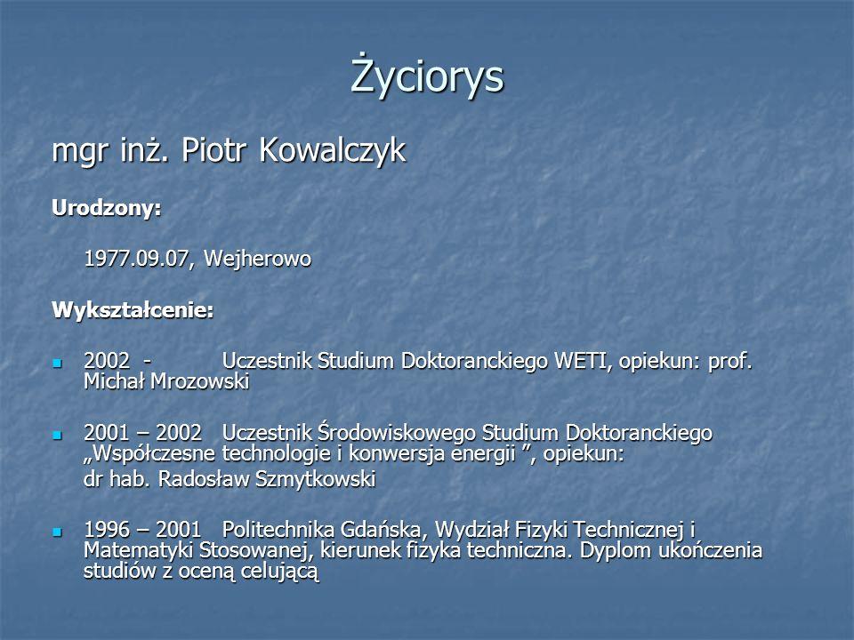 Lista publikacji P.Kowalczyk, M.