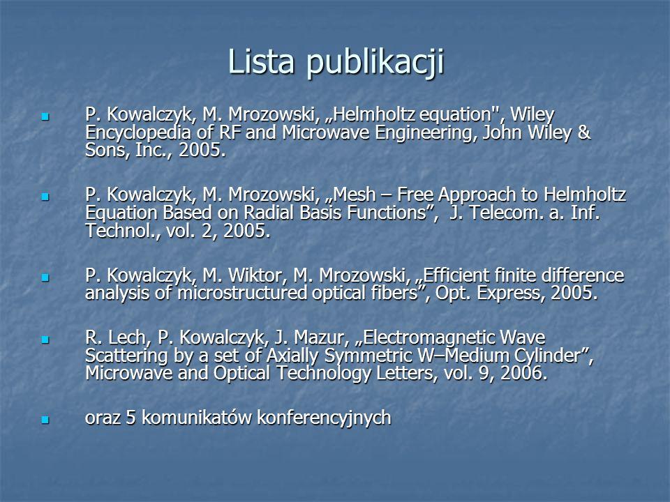 Lista publikacji P. Kowalczyk, M. Mrozowski, Helmholtz equation'', Wiley Encyclopedia of RF and Microwave Engineering, John Wiley & Sons, Inc., 2005.