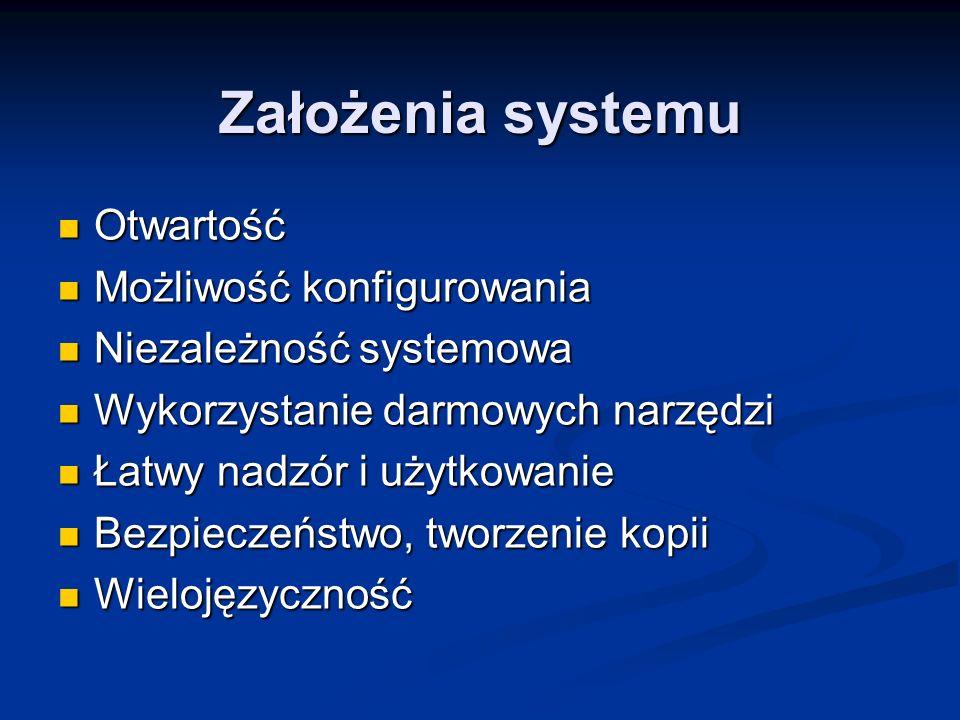 Założenia systemu Otwartość Otwartość Możliwość konfigurowania Możliwość konfigurowania Niezależność systemowa Niezależność systemowa Wykorzystanie da
