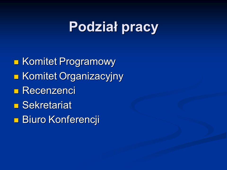 Podział pracy Komitet Programowy Komitet Programowy Komitet Organizacyjny Komitet Organizacyjny Recenzenci Recenzenci Sekretariat Sekretariat Biuro Ko