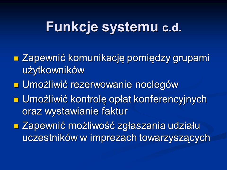 Funkcje systemu c.d. Zapewnić komunikację pomiędzy grupami użytkowników Zapewnić komunikację pomiędzy grupami użytkowników Umożliwić rezerwowanie nocl