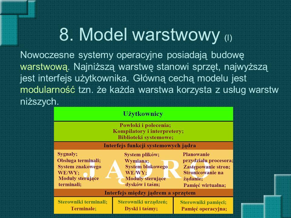 8. Model warstwowy (I) Nowoczesne systemy operacyjne posiadają budowę warstwową. Najniższą warstwę stanowi sprzęt, najwyższą jest interfejs użytkownik