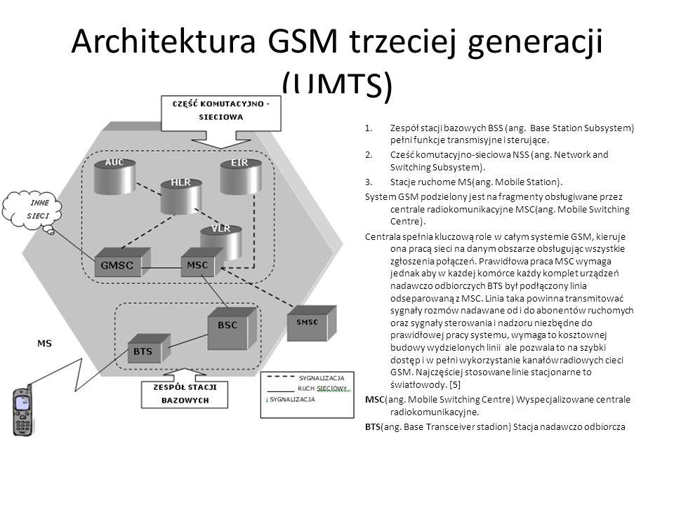 Architektura GSM trzeciej generacji (UMTS) 1.Zespół stacji bazowych BSS (ang. Base Station Subsystem) pełni funkcje transmisyjne i sterujące. 2.Cześć