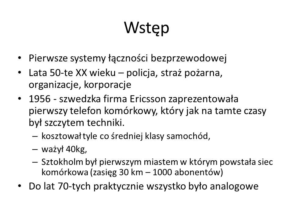 Wstęp Pierwsze systemy łączności bezprzewodowej Lata 50-te XX wieku – policja, straż pożarna, organizacje, korporacje 1956 - szwedzka firma Ericsson z