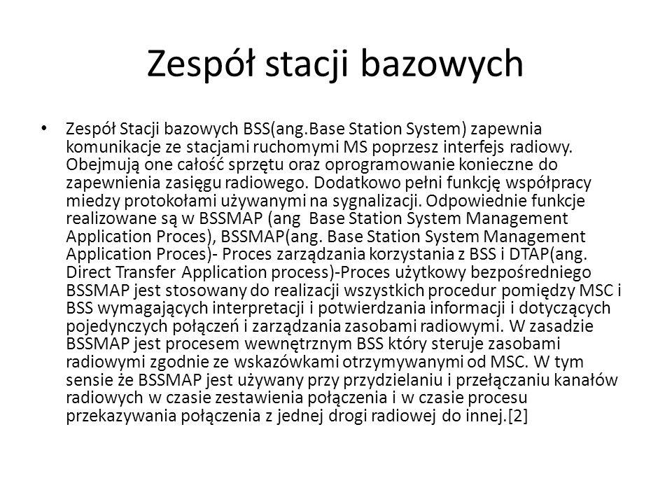 Zespół stacji bazowych Zespół Stacji bazowych BSS(ang.Base Station System) zapewnia komunikacje ze stacjami ruchomymi MS poprzesz interfejs radiowy. O