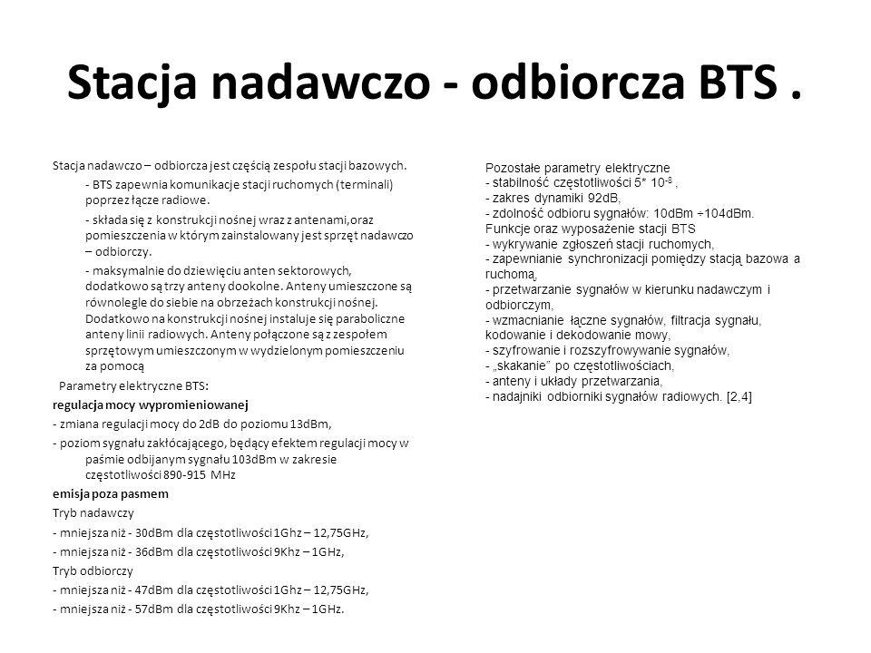 Stacja nadawczo - odbiorcza BTS. Stacja nadawczo – odbiorcza jest częścią zespołu stacji bazowych. - BTS zapewnia komunikacje stacji ruchomych (termin